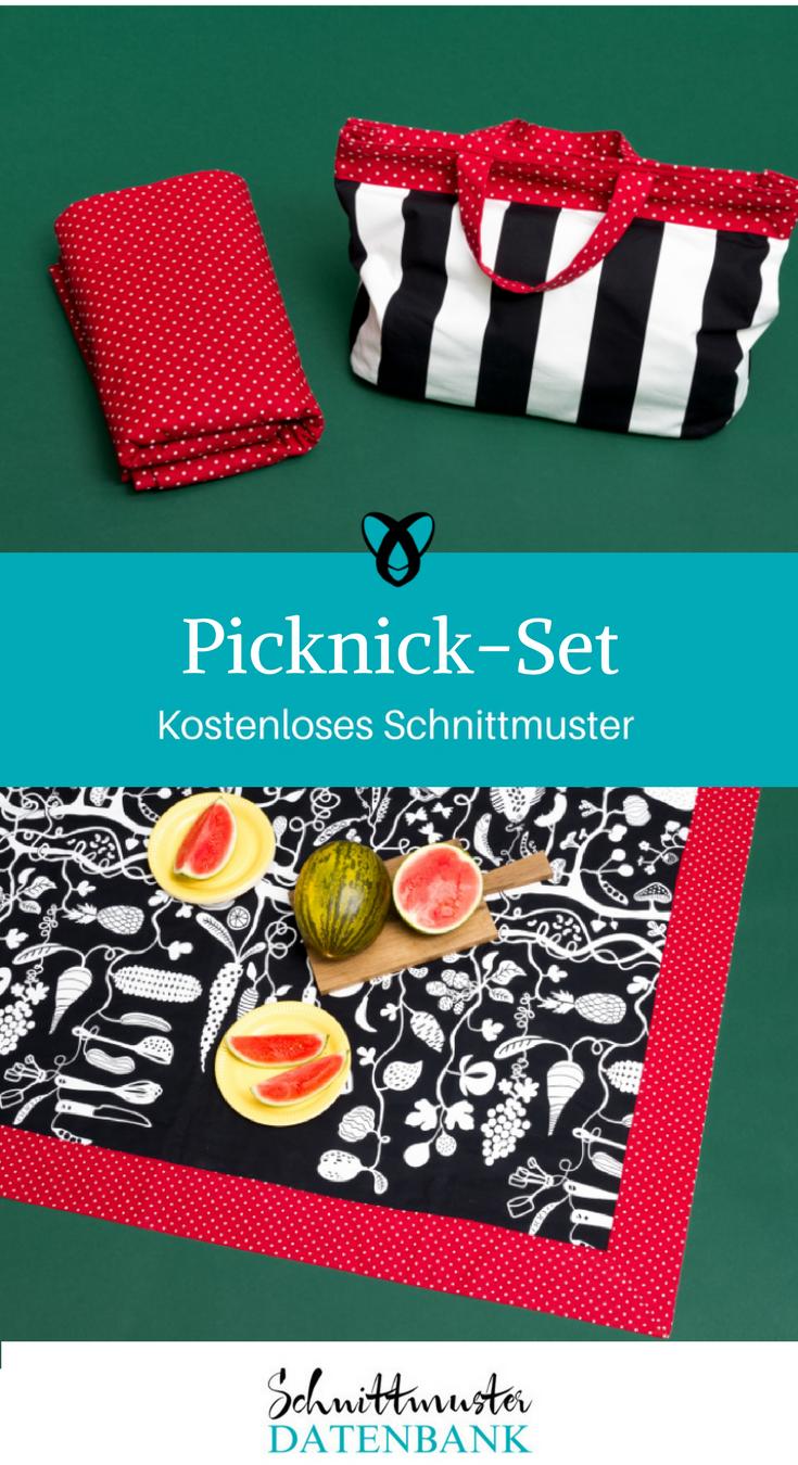 Picknick-Set Picknickdecke Picknicktasche kostenloses Schnittmuster Gratis-Nähanleitung