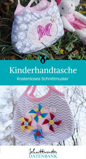Kindertasche Mädchenhandtasche kleine Handtasche Täschchen für Mädchen kostenloses Schnittmuster Gratis-Nähanleitung