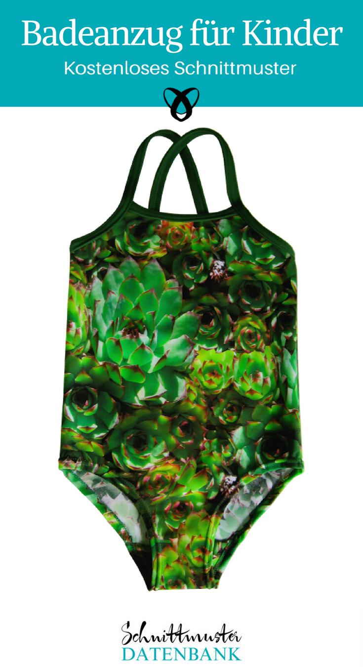 Mädchenbadeanzug Kinderbadeanzug Badeanzug mit Trägern kostenloses Schnittmuster Gratis-Nähanleitung