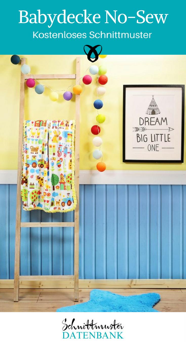 Babydecke No-Sew Nähideen fürs Baby Geschenke zur Geburt kostenlose Schnittmuster Gratis-Nähanleitung
