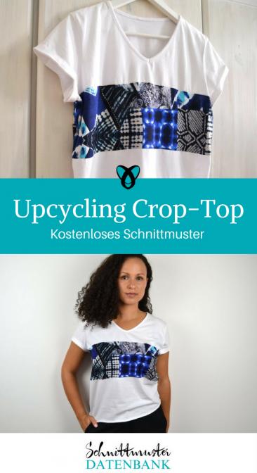 Crop-Top Upcycling T-Shirt kostenloses Schnittmuster Gratis-Nähanleitung