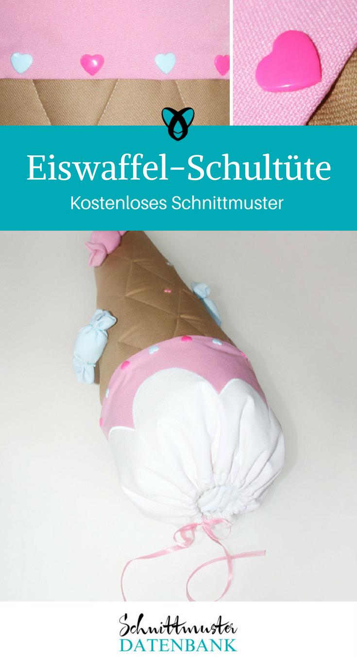 Eiswaffel-Schultüte Nähideen für den Schulanfang Nähen für Kinder kostenlose Schnittmuster Gratis-Nähanleitung