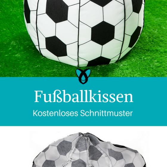 Fußballkissen Sitzkissen Pouf kostenloses Schnittmuster Gratis-Nähanleitung