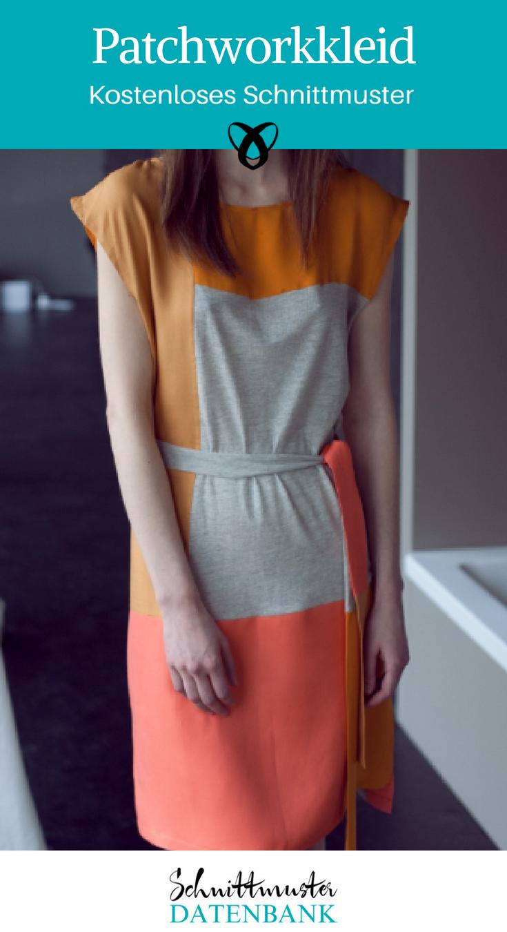 Patchworkkleid Sommerkleid Jerseykleid Nähideen für Frauen kostenlose Schnittmuster Gratis-Nähanleitung