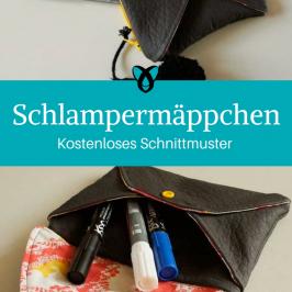 Schlampermäppchen Stifteetui kleine Tasche Stiftetasche kostenloses Schnittmuster Gratis-Nähanleitung