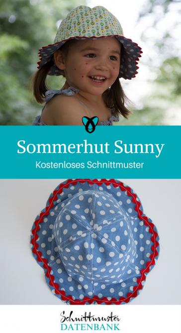 Sommerhut Sunny Kinderhut Sonnenschutz für Kinder Ideen für Kinder kostenlose Schnittmuster Gratis-Nähanleitung