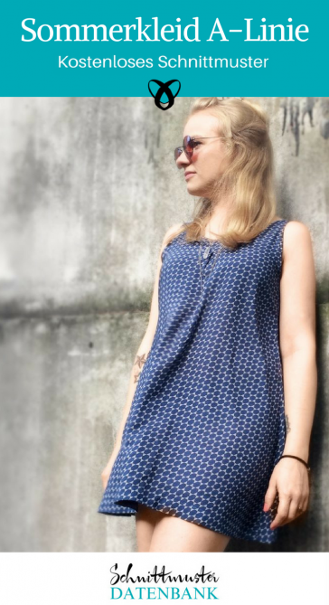 Sommerkleid Kleid für Frauen Longtop A-Linie kostenloses Schnittmuster Gratis-Nähanleitung