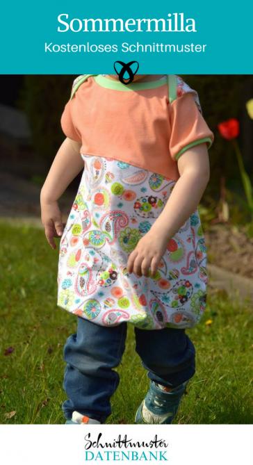 Sommermilla Sommerkleid Ballonkleid für Kinder Jerseykleid kostenloses Schnittmuster Gratis-Nähanleitung