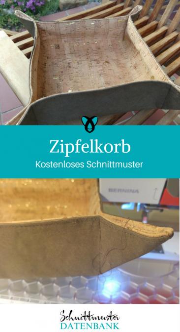 Zipfelkorb Brotkorb Geschenkkorb Nähen mit Kork Kostenloses Schnittmuster Gratis-Nähanleitung