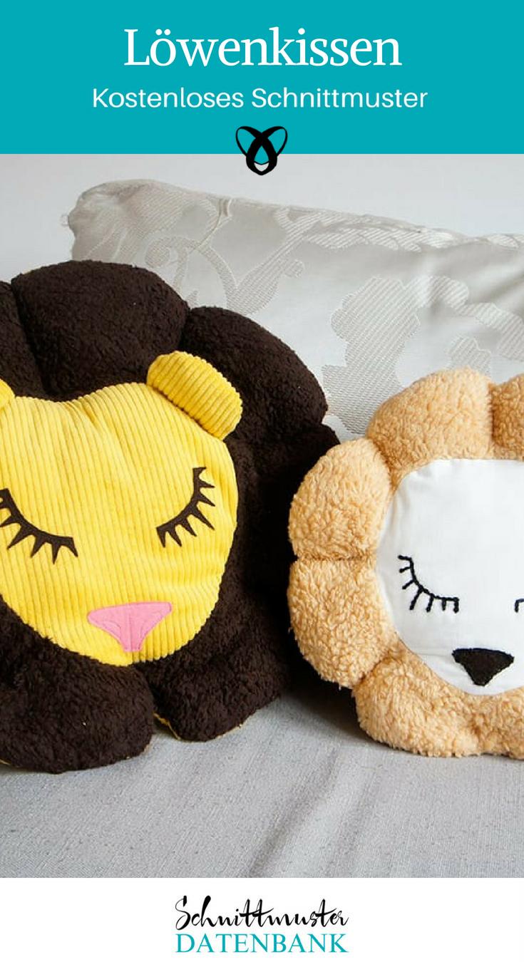 Löwenkissen Schnittmuster kostenlos Nähidee für Kinder Geschnk Geschenkidee Kissen Löwe Idee nähen Kuscheltier