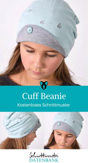 Cuff Beanie Mütze mit Aufschlag Nähen für Erwachsene Nähideen für den Kopf kostenlose Schnittmuster Gratis-Nähanleitung