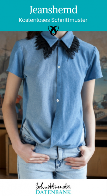 Jeanshemd Bluse Oberteil für Damen kostenlose Schnittmuster Gratis-Nähanleitung