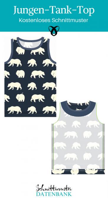 Jungen Tank Top Ärmelloses Oberteil Shirt Nähen mit Jersey Nähideen für Jungs kostenlose Schnittmuster Gratis-Nähanleitung