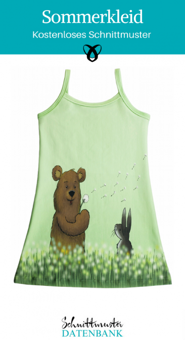Sommerkleid Jerseykleid Nähen mit Panels Kleid mit Spaghettiträgern kostenlose Schnittmuster Gratis-Nähanleitung