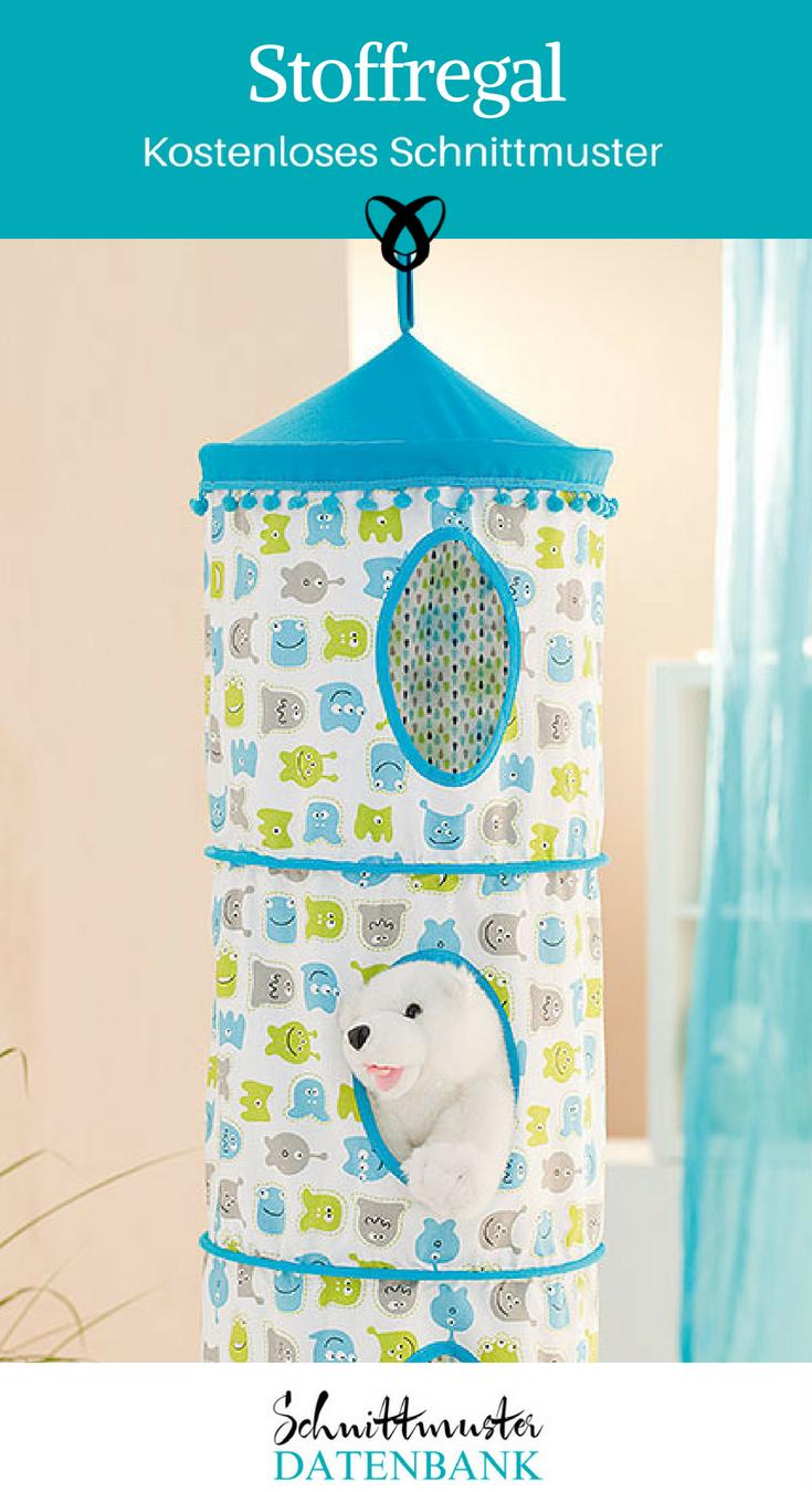Stoffregal Hängeregal Nähideen fürs Kinderzimmer Spielzeugaufbewahrung kostenlose Schnittmuster Gratis-Nähanleitung