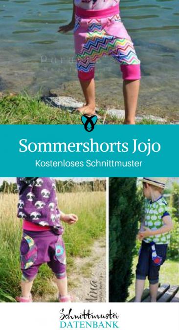 Sommershorts für Kinder Kinderhose Knickerbocker für Kinder Nähen mit Jersey kostenlose Schnittmuster Gratis-Nähanleitung