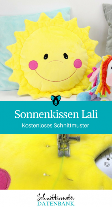 Sonnenkissen Lali Kissen fürs Kinderzimmer Motivkissen Ideen für Zuhause kostenlose Schnittmuster Gratis-Nähanleitung