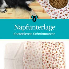 Napfunterlage Unterlage für Fressnapf Nähen für Haustiere Nähideen Hund Katze kostenlose Schnittmuster Gratis-Nähanleitung