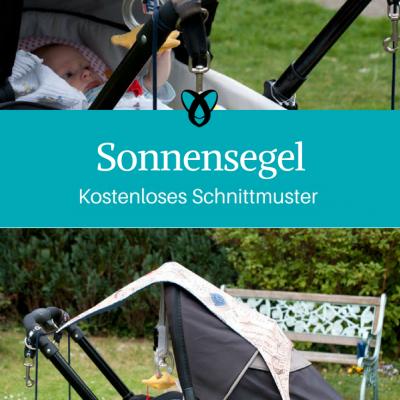 Sonnensegel für den Kinderwagen Sonnenschutz Baby Nähen fürs Baby kostenlose Schnittmuster Gratis-Nähanleitung