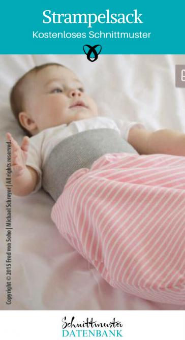 Strampelsack Nähen fürs Baby Nähideen Erstausstattung kostenlose Schnittmuster Gratis-Nähanleitung