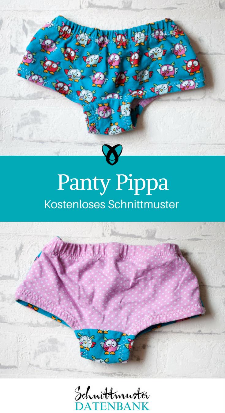 Panty Pippa Mädchenunterhose Unterwäsche für Kinder Nähen mit Stoffresten kostenlose Schnittmuster Gratis-Nähanleitung
