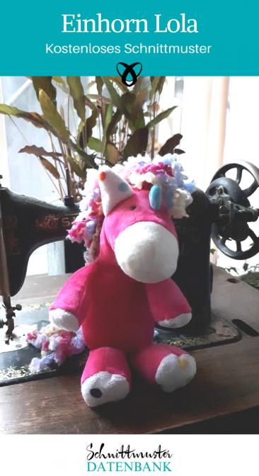 Einhorn Lola Kuscheltier Spielzeug für Kinder Glücksbringer nähen kostenlose Schnittmuster Gratis-Nähanleitung