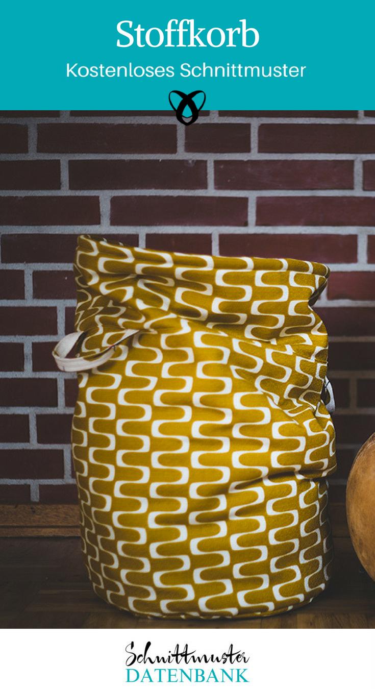 Stoffkorb Wäschekorb Aufbewahrung aus Stoff kostenlose Schnittmuster Gratis-Nähanleitung
