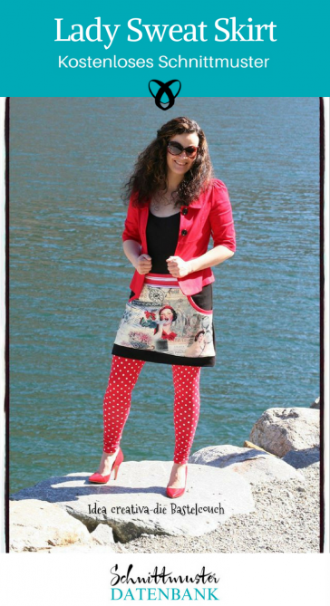 Lady Sweat Skirt Damenrock Rock für Frauen kurzer Rock kostenlose Schnittmuster Gratis-Nähanleitung