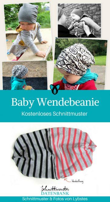 Wendebeanie Baby Mütze für Babies Erstausstattung Geschenke zur Geburt kostenlose Schnittmuster Gratis-Nähanleitung
