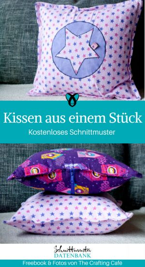 Kissen aus einem Stück Dekokissen Ideen für Zuhause Nähen mit Baumwollstoff kostenlose Schnittmuster Gratis-Nähanleitung