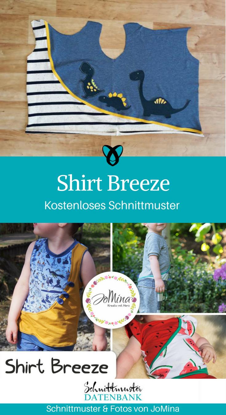 Shirt Breeze Shirt für Kinder Longsleeve Tanktop T-Shirt Nähen für Kinder kostenlose Schnittmuster Gratis-Nähanleitung