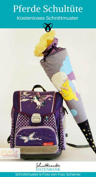 Schultüte Nähen zur Einschulung Geschenke für Kinder kostenlose Schnittmuster Gratis-Nähanleitung