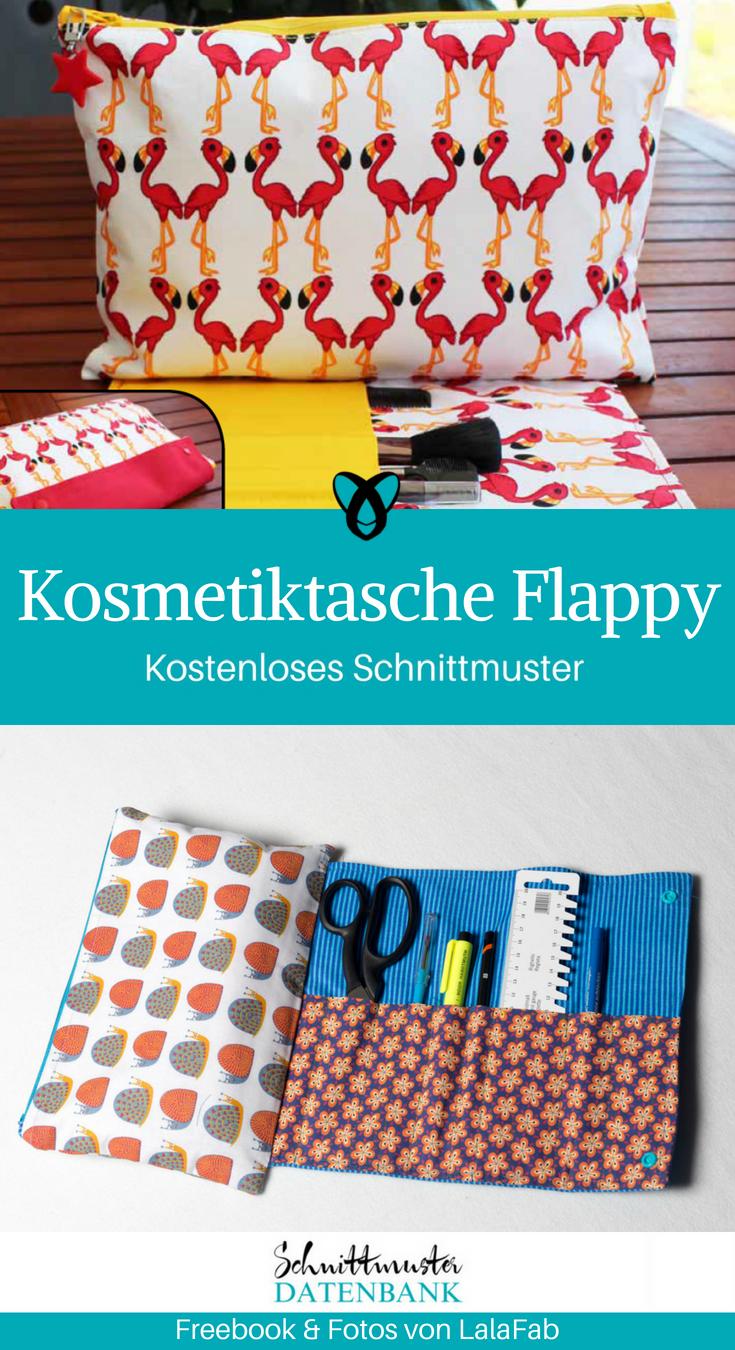 Kosmetiktasche Flappy kleine Tasche mit Pinselfach kostenlose Schnittmuster Gratis-Nähanleitung