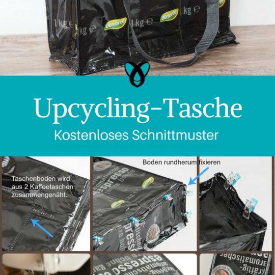 Upcycling-Tasche aus Kaffeetüten Shopper Einkaufstasche kostenlose Schnittmuster Gratis-Nähanleitung