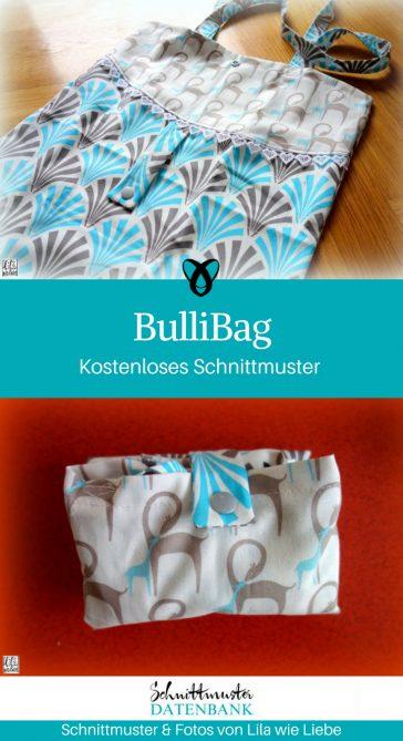BulliBag Faltbare Einkaufstasche Stoffbeutel Shopper Baumwolltasche kostenlose Schnittmuster Gratis-Nähanleitung