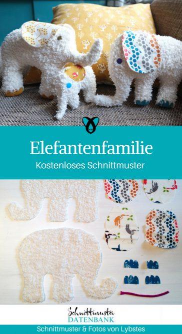 Elefant Kuscheltier Elefantenfamilie für Kinder nähen kostenloses Schnittmuster gratis Nähanleitung Freebie Nähidee Geschenkidee