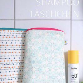 Shampoo Tasche Kosmetiktasche hochkant nähen kostenloses Schnittmuster gratis Nähanleitung Freebie Nähidee Geschenkidee