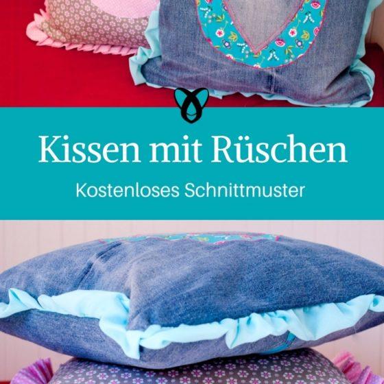 Kissen Kissenbezug mit Rueschen naehen gratis schnittmuster