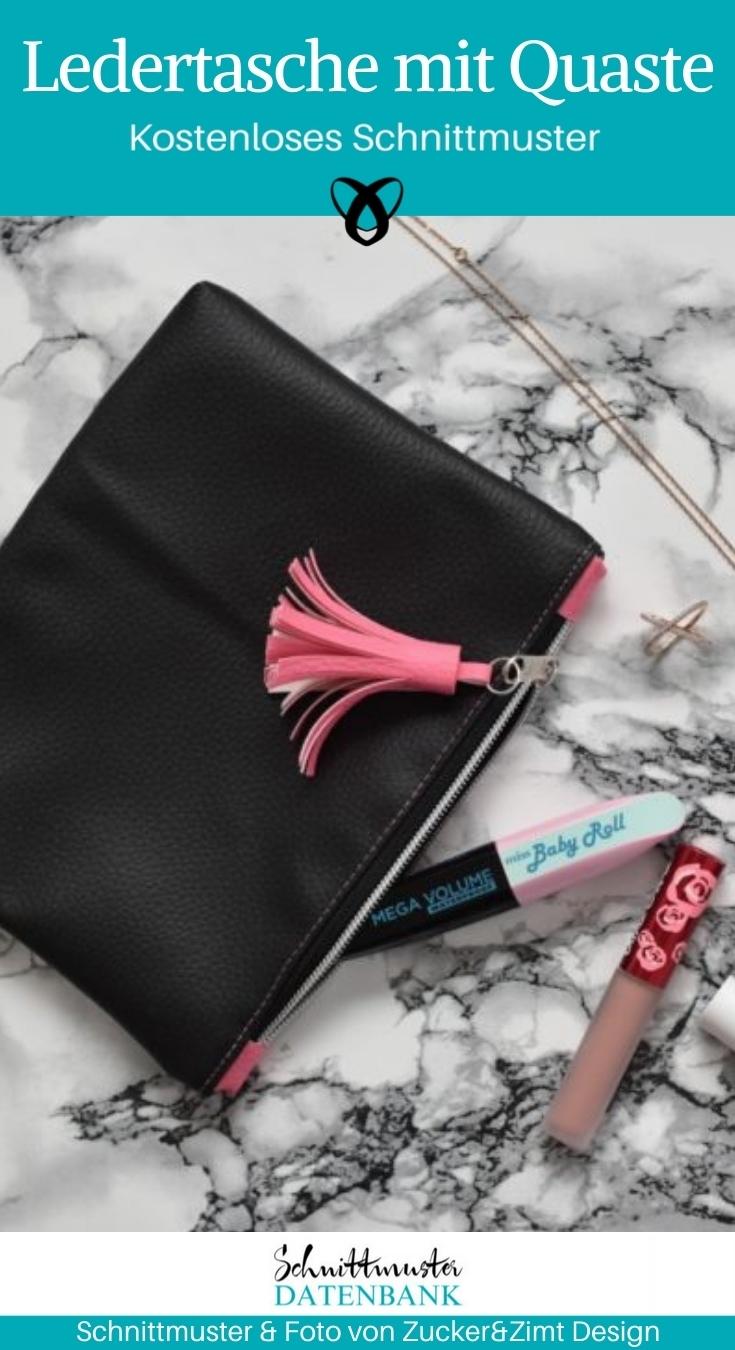 Kosmetiktasche Taeschchen Leder Kunstleder Tasche naehen gratis schnittmuster