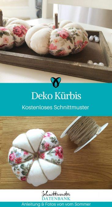 Kuerbis Deko naehen Naehidee Herbst Dekoration fuer Zuhause kostenloses Schnittmuster