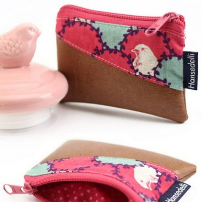 Mini-Geldbörse kleines Portemonnaie nähen kostenloses Schnittmuster gratis Nähanleitung Freebie Nähidee Geschenkidee