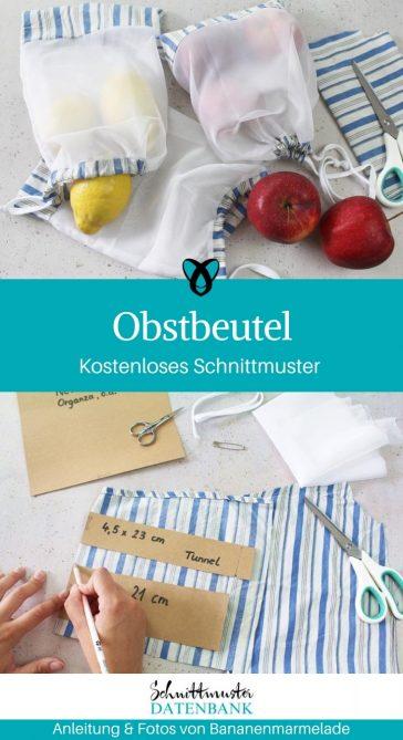 Obstbeutel Gemuesebeutel Eikaufen Nachhaltig Netzbeutel naehen gratis schnittmuster