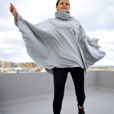 Poncho Kragen Jersey naehen gratis schnittmuster