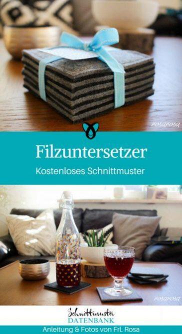 Filzuntersetzer Untersetzer nähen kostenloses Schnittmuster gratis Nähanleitung Freebie Nähidee Geschenkidee