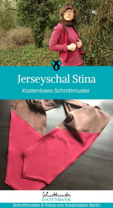 Jerseyschal nähen kostenloses Schnittmuster gratis Download Schal Jersey Webware Kleidung Accessoires Erwachsene Frauen Geschenkidee Nähanfänger Anfänger Idee