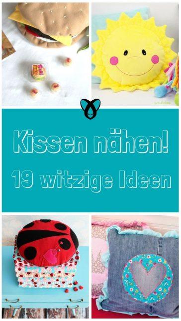Kissen nähen Kisssenbezug kostenloses Schnittmuster gratis Nähidee Ideen witzig Kissenarten für Kinder Geschenkideen