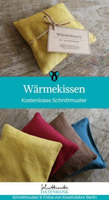 Wärmekissen nähen kostenloses Schnittmuster gratis Anleitung Nähidee Idee Kleinigkeit kleines Geschenk Mitbringsel Winter