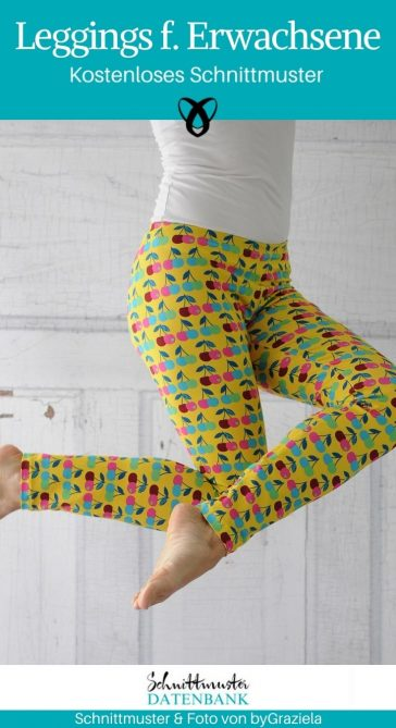Leggings Leggins für Erwachsene Frauen Damen nähen kostenloses Schnittmuster gratis Download byLeni byGraziela Hose