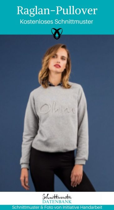 Pulli Pullover nähen kostenloses Schnittmuster Raglan Sweater Freebie Erwachsene Unisex Damenpullover sportlich