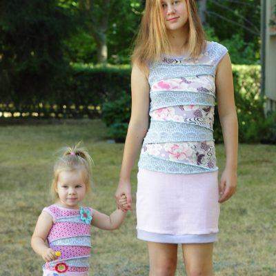Kleid für Kinder kostenloses Schnittmuster gratis Jersey Kinderkleid Patchwork Freebie Freebook Stoffreste Jerseyreste Ideen